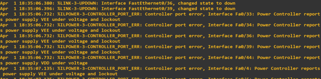 Cisco 2960 Error: %ILPOWER-3-CONTROLLER_PORT_ERR: Controller